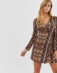 Boohoo Satin Tie Side Wrap Dress In Snake Print Multi