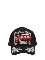 Dsquared Patch And Embroidery Cotton Baseball Hat Black Silver