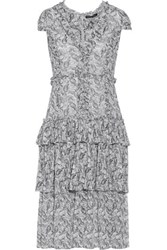 Marissa Webb Lana Ruffled Printed Silk Georgette Midi Dress White