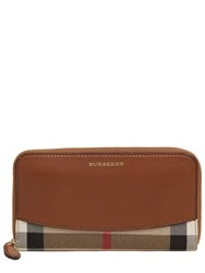 Burberry Leather And House Check Zip Around Wallet