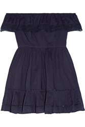 Loveshackfancy Izzy Off The Shoulder Crochet Trimmed Cotton Voile Mini Dress Midnight Blue