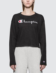 Champion Reverse Weave Big Script Long Sleeve Cropped T Shirt Black
