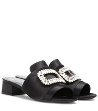 Roger Vivier Satin Embellished Sandals Black
