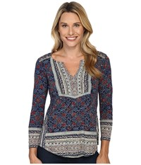 Lucky Brand Block Floral Top Navy Multi Women's Clothing Blue