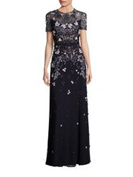 Jenny Packham Short Sleeve Floral Beaded Gown Dark Navy