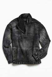 Urban Outfitters Uo Bleached Denim Mock Neck Popover Shirt Black