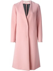 Marni Long V Neck Coat Pink And Purple