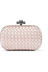 Bottega Veneta The Knot Watersnake Trimmed Intrecciato Satin Clutch Pastel Pink