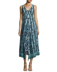 Nanette Lepore Windswept Floral Silk Midi Sundress Black Blue Black Pattern