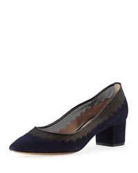 Chloe Suede Scalloped Mid Heel Pump Navy Blue