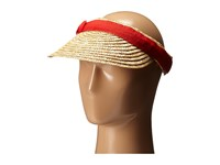 San Diego Hat Company Wsv0005 4 Inch Brim Straw Clip On Visor With Bow Red Casual Visor