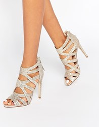 Lipsy Margot Gold Glitter Caged Heeled Sandals Gold