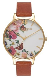Olivia Burton Women's English Garden Leather Strap Watch 38Mm Tan Floral Gold