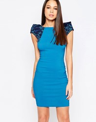Vesper Rogue Pencil Dress With Lace Shoulders Blue