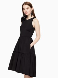 Kate Spade Corsage Fit And Flare Dress Black