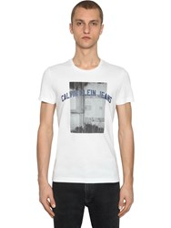 Calvin Klein Jeans Photographic Basketball Cotton T Shirt White