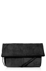 Topshop Snake Print Suede Clutch