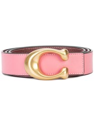 Coach Sculpted C Reversible Belt Pink And Purple
