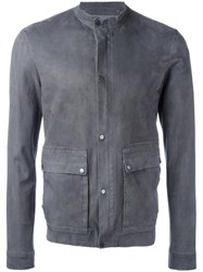 Salvatore Santoro Buttoned Leather Jacket Grey