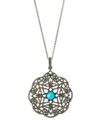 Bavna Champagne Diamond And Turquoise Filigree Pendant Necklace