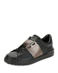 Valentino Leather Low Top Sneaker With Stripe Black Gunmetal Black Grey Size 42.5Eu 9.5Us