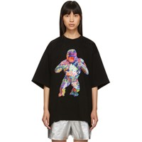 Juun.J Black Graffiti Dinosaur T Shirt