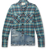 Greg Lauren Grandad Collar Panelled Distressed Checked Cotton Flannel And Denim Shirt Blue