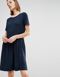 Selected Alice Short Sleeve Pleated Skirt Dress Dark Sapphire Blue