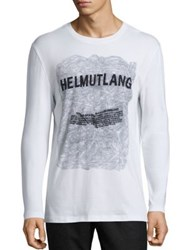 Helmut Lang Graphic Printed Long Sleeve T Shirt White Multicolor