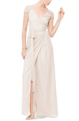 Women's Ceremony By Joanna August 'Newbury' Gathered Sleeve Lace Wrap Gown