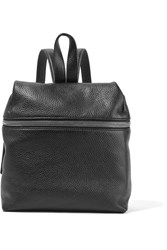 Kara Small Textured Leather Backpack Black