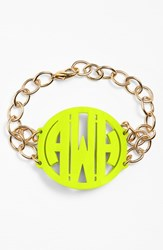 Women's Moon And Lola 'Annabel' Large Personalized Monogram Bracelet Lime Gold