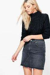 Boohoo Cable Knit Turtle Neck Crop Jumper Black
