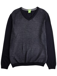 Boss Logo Boss Green C Chip Virgin Wool V Neck Jumper Dark Blue
