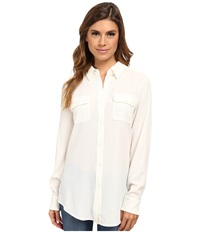 Pendleton Double Pocket Blouse Ivory Women's Long Sleeve Button Up White