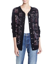 Libertine Chinoiserie Crystal Embellished Cashmere Cardigan Black