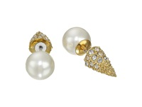 Sam Edelman Pearly Punk Pearl Pave Stud Earrings White Gold Earring