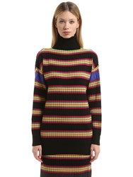 Marco De Vincenzo Oversize Striped Wool Turtleneck Sweater