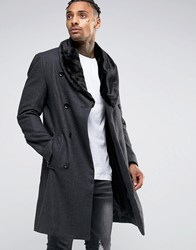 Criminal Damage Overcoat With Faux Fur Collar Grey