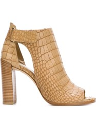 Stuart Weitzman 'Open House' Open Toe Aligator Skin Effect Pumps Nude And Neutrals