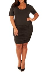 Rebel Wilson X Angels Plus Size Women's Ruched Sandwashed Jersey Dress Black Beauty