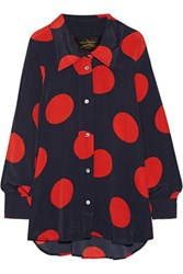 Vivienne Westwood Anglomania Oversized Polka Dot Crepe De Chine Blouse Navy