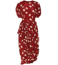 Simone Rocha Asymmetric Printed Silk Dress Red