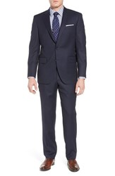 Peter Millar Big And Tall Classic Fit Bird's Eye Wool Suit Navy