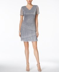 Connected Tiered Metallic Cocktail Dress Grey