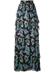 Msgm Floral Maxi Skirt Women Silk Polyester 42 Black