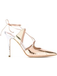 Aperlai Aperlai 'Elaphe' Ankle Tie Stiletto Sandals Metallic