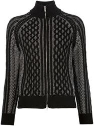 T By Alexander Wang Cable Knit Honeycomb Pattern Cardigan Black