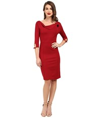 Unique Vintage Off Shoulder Fitted Wiggle Dress With Flower Brouch Burgundy Women's Dress