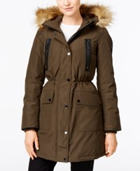 Michael Kors Hooded Faux Fur Trim Down Anorak Jacket Loden